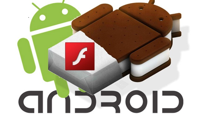 Android ice cream sandwich with flash