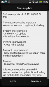 HTC One KitKat Update